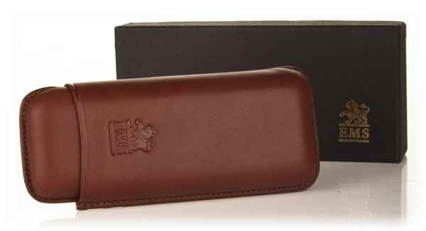 Brown Leather Cigar Case - Robusto