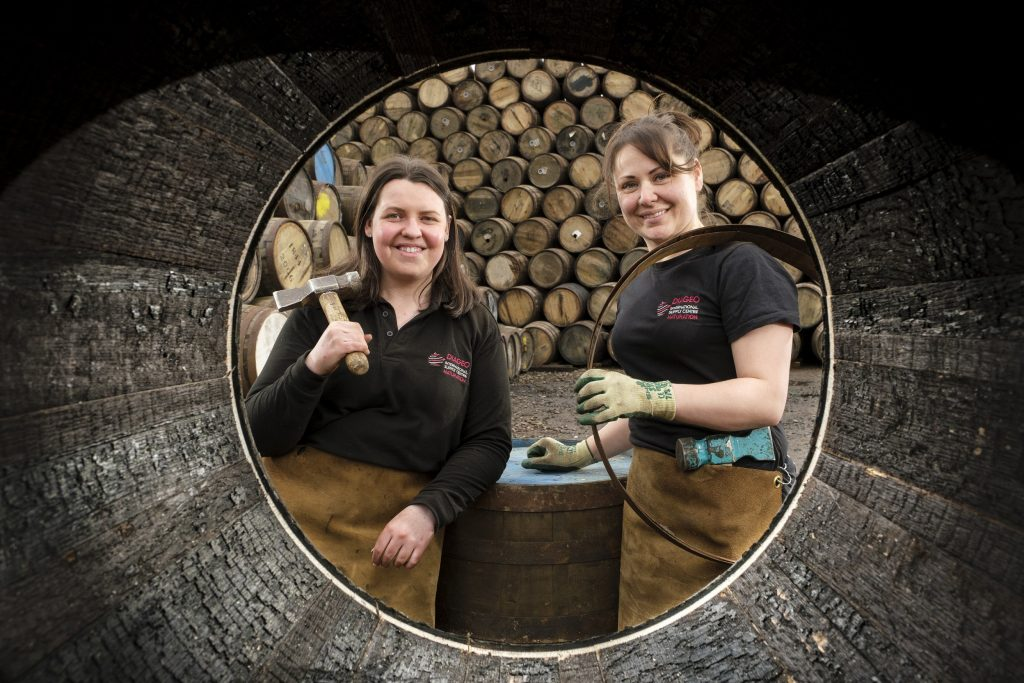 L-R Angela Cochrane and Kirsty Olychick are the UK's first coopering apprentices