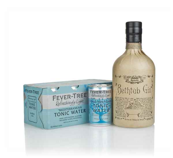 Bathtub Gin and Fever-Tree Refreshingly Light Mediterranean Tonic Water Fridge Pack Bundle