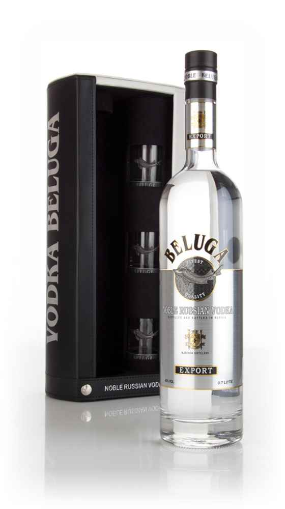 Beluga Noble Russian Vodka Gift Pack with 3x Glasses