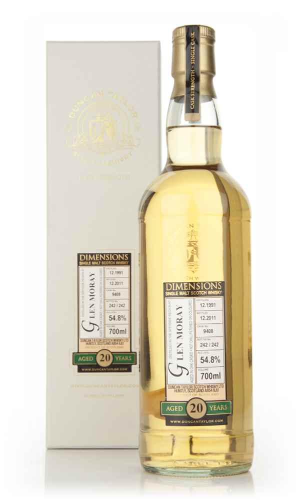 Glen Moray 20 Year Old 1991 (cask 9408) - Dimensions (Duncan Taylor)