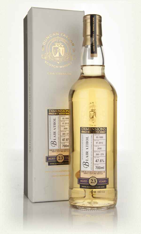 Blair Athol 23 Year Old 1989 Cask 2930 - Dimensions (Duncan Taylor)